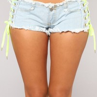 Neon Times Lace Up Denim Shorts - Light Blue Wash