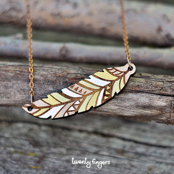 Wood native pendant - feather (laser cut)