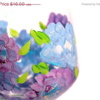"Christmas in July Sale Wine Glasses: ""Hydrangea"" Blue & Purple Hand-painted glasses"