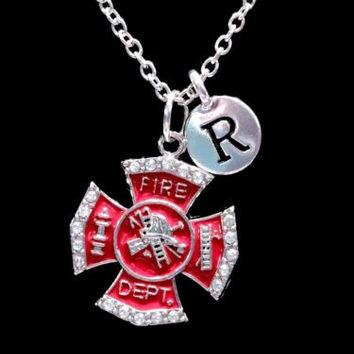 Choose Initial, Red Maltese Cross Firefighter Wife Valentine Gift Necklace