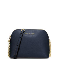 Cindy Large Dome Saffiano Crossbody Bag, Navy LAVELIQ