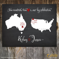 Chalk Board inspired Wedding Print - Geography Love Collection - US Australia Map 11x14 inches Customized Print