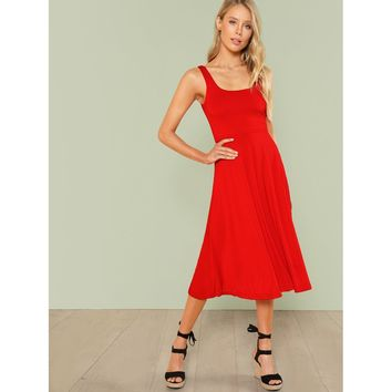 Fit & Flare Solid Tank Dress