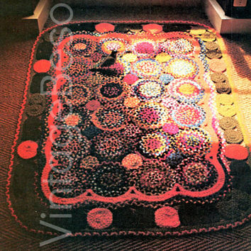 Circle Braided Rug 1970's CRAFT PATTERN Instant Download Pdf Chic Home Decor for Bohemian Country Western Hippie Traditional