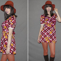Vintage 60s Mini Dress / Plaid + Floral Print / Burgundy, Pink, Mustard / Empire Waist / Eyelet Trim / Groovy, Kawaii / Small