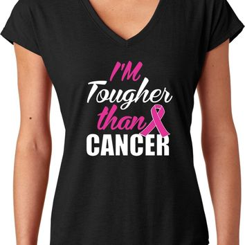 Tougher Than Breast Cancer Ladies Triblend V-Neck Shirt