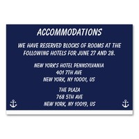 Navy Blue Nautical Wedding Accommodations Cards Business Card Template