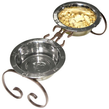 """Wrought Iron Elevated Dog Food Feeder - Diner, 7"""""""