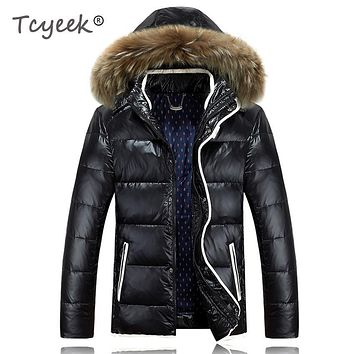 Tcyeek Men's winter down jacket Hooded Parkas Warm Coat Men's Winter Jackets Real Raccoon Fur Collar Jackets Male Clothing wjf