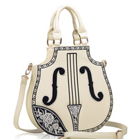 Vintage Cream Violin Hand Bag