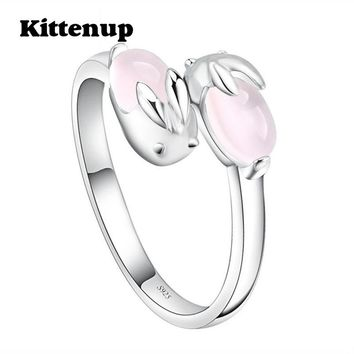 Kittenup New Design Simple Lovely Pink Cute Rabbit Temperament Rings Jewelry Gifts For Girl Women
