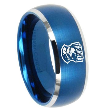 10mm Star Wars Clone Trooper Dome Brushed Blue 2 Tone Tungsten Bands Ring