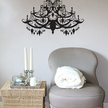 Chandelier Wall Decal Vinyl Sticker Decals Art Home Decor Mural Chandelier Light Vintage Candles Living Room Nursery Bathroom Dorm AN488