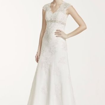 Cap Sleeve Lace Over Satin Wedding Dress - Davids Bridal