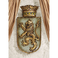 Park Avenue Collection Medieval Rampant Lion Shield Plaque