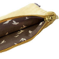 Vintage Yellow Pouch: Birds Liner