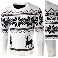 Geometric and Deer Patterned Sweater