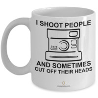 I Shoot People Camera Mug, Photography Gag Gifts for Photographers, Gifts for Coffee Lovers, 11oz