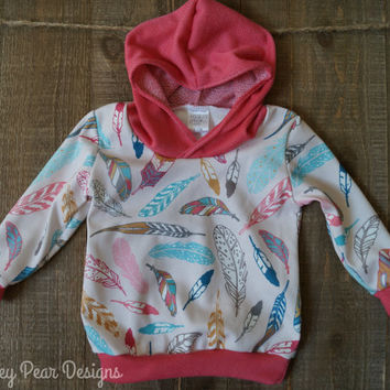 Baby Children Handmade Organic Jersey Knit Hooded Sweatshirt Tribal Feather Hoodie