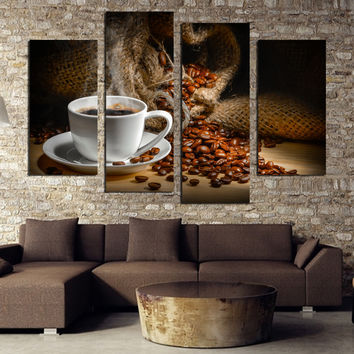 4 Panels Canvas Painting Fragrant Coffee Beans Print Painting On Canvas Wall Art Picture Kitchen Home Decoration Unframed F1860