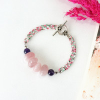 Rose Quartz Bracelet, Soothing Pink Crystal Jewelry with Amethyst Stone Beads