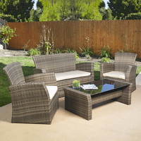 4 Piece Outdoor Weather Resistant Wicker Resin Patio Furniture Set with Cushions