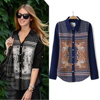 Totem Print Long Sleeve Single Breasted Shirt Collar Blouse