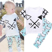 Toddler Kids Baby Boys Geometric Animal Fox Printing Short sleeve T-shirt Long Pants Fox Outfits Clothes