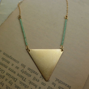 Mint green beaded triangle statement necklace by littlepancakes