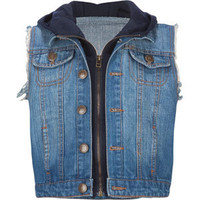 HIGHWAY Girls Hooded Denim Vest