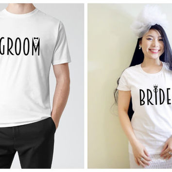Bride and Groom His and Her Matching Couple Lightweight Cotton T-shirts (Gift for Couples), Engagement Shirts, Wedding shirts, Bridal shirts