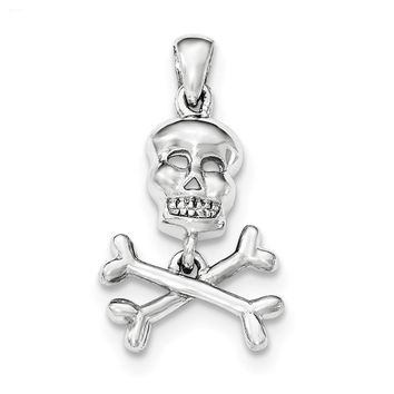 Sterling Silver Polished Skull and Crossbones Pendant