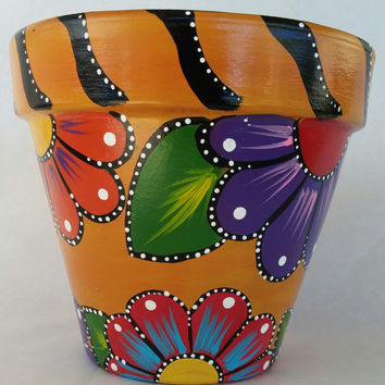 Painted clay pot, hand painted flowerpot, patio decor, painted pottery, flower pot, clay pot, hand painted pot, indoor pot, outdoor pot