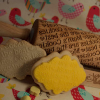 Mom's Cookies are the best! Rolling Pin - Laser Engraved,  Embossing pin! **BONUS custom designed holder**