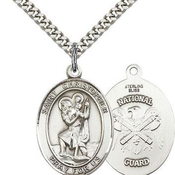 925 Sterling Silver St Christopher Nat'l Guard Military Catholic Medal Necklace 617759818604