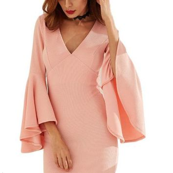 Pink V Neck Flare Sleeve Sheath Dress Sexy Ladies Plunge Long Sleeve Mini Dress