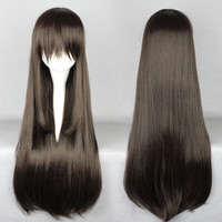 80cm Bangs Brown Wig