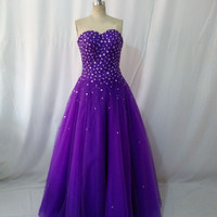 Purple Strapless Beaded Tulle Ball Gown Prom Dress