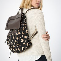 FLORAL LEATHER FLAP BACKPACK