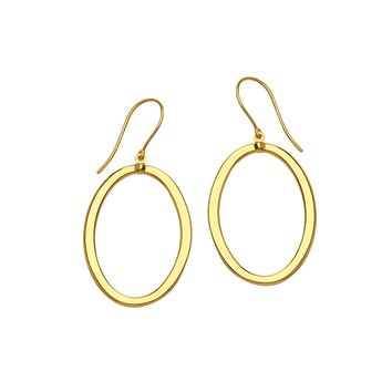 14K Yellow Gold Shiny Oval Drop Earrings