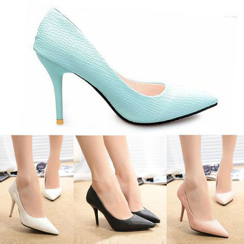 2016 New Fashion Spring Summer Women High Heels Pointed Toe Sandals Shoes Pumps Party Womens Plus Size Female Wedding Shoes O127