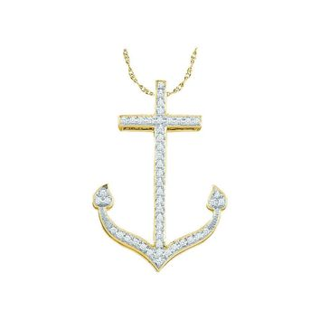 10k Yellow Gold Round Diamond Womens Anchor Nautical Pendant 1/6 Cttw