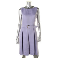 Tahari ASL Womens Box Pleat Sleeveless Wear to Work Dress