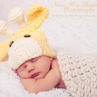 Crochet Giraffe Baby Hat  Newborn to 3 by AdornmentsByDesign