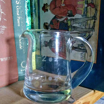Small Hand Blown Glass Pitcher, Glass Measuring Pitcher, vintage Knobler Bar Pitcher, Miniature Clear Glass Pitcher, 1 2 oz measure pitcher