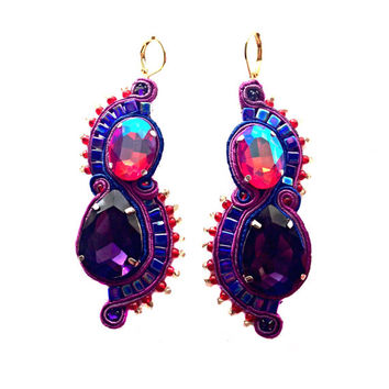 SEA HORSES soutache earrings in purple, red and navy (free international shipping)