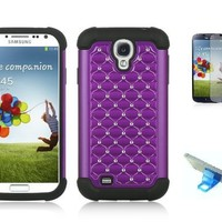 Premium Samsung Galaxy S4 Hybrid Studded diamond Phone Protective Case With Screen Protector, Purple Touch Screen Stylus Pen And Phone Stand (Purple)
