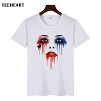 Men' Harley Quinn Face Print T-Shirt  For Men Summer White T shirt Hipster Tees