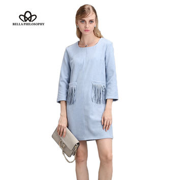 2016 autumn winter new women's pocket tassels fringed pink black khaki blue faux suede dress long sleeve real photo