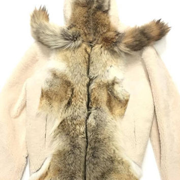 Jakewood Men's Natural Plush Fox Tail Shearling Jacket with Hood